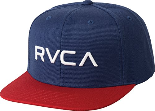 Elite Embroidered Hat - RVCA Men's Twill Snapback Hat, Blue/red, ONE Size