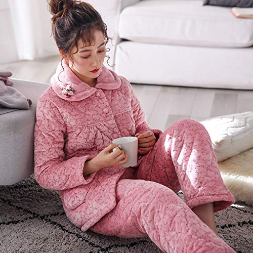 Velvet L158 Clothing Can Quilted 168cm Cute Warm 47 Pajamas Thick 164cm Outside Wear Suits Three Plus Xl162 Coral Winter layer 57kg 58 Pajamasx Ladies And Autumn 65kg 6qHEwTx