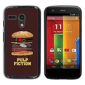 Qstar Arte & diseño plástico duro Fundas Cover Cubre Hard Case Cover para Motorola Moto G1 / X1032 ( Movie Parody Funny Symbol Junk Food)