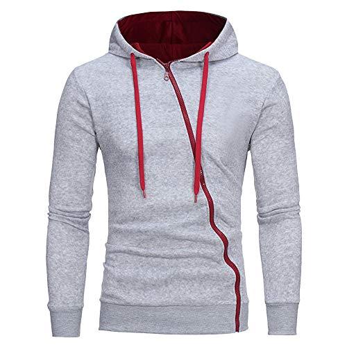 Zipper Hoodies for Duseedik Mens' Warm Long Sleeve Hooded Zipper Sweatshirt Tops Jacket Coat Outwear Gray