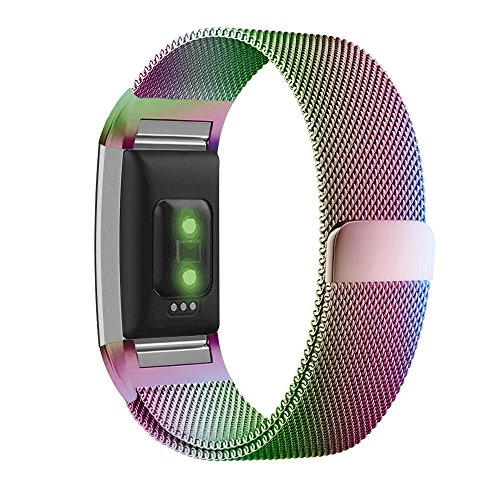 UMTELE For Fitbit Charge 2 Band, Milanese Loop Stainless Steel Metal Bracelet Strap with Unique Magnet Lock, No Buckle Needed for Fitbit Charge 2 HR Fitness Tracker Colorful Large