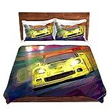 DiaNoche Designs David Lloyd Glover Corvette Lemans Racecar Brushed Twill Home Decor Bedding Cover, 7 Queen Duvet Sham Set