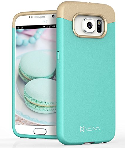 Samsung Galaxy S6 Case, VENA [iSlide] Slim Fit Hard Rubber-Coated Case Cover for Samsung Galaxy S6 (Teal/Champagne Gold) (Phone Cover Coated Rubber)