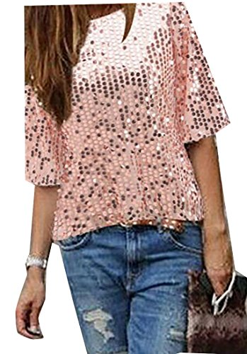 Papijam Womens Sequin 3/4 Sleeve Loose Fit Summer Top T-shirt Pink X-Large