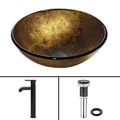 VIGO Liquid Gold Glass Vessel Bathroom Sink and Seville Vessel Faucet with Pop Up, Matte Black