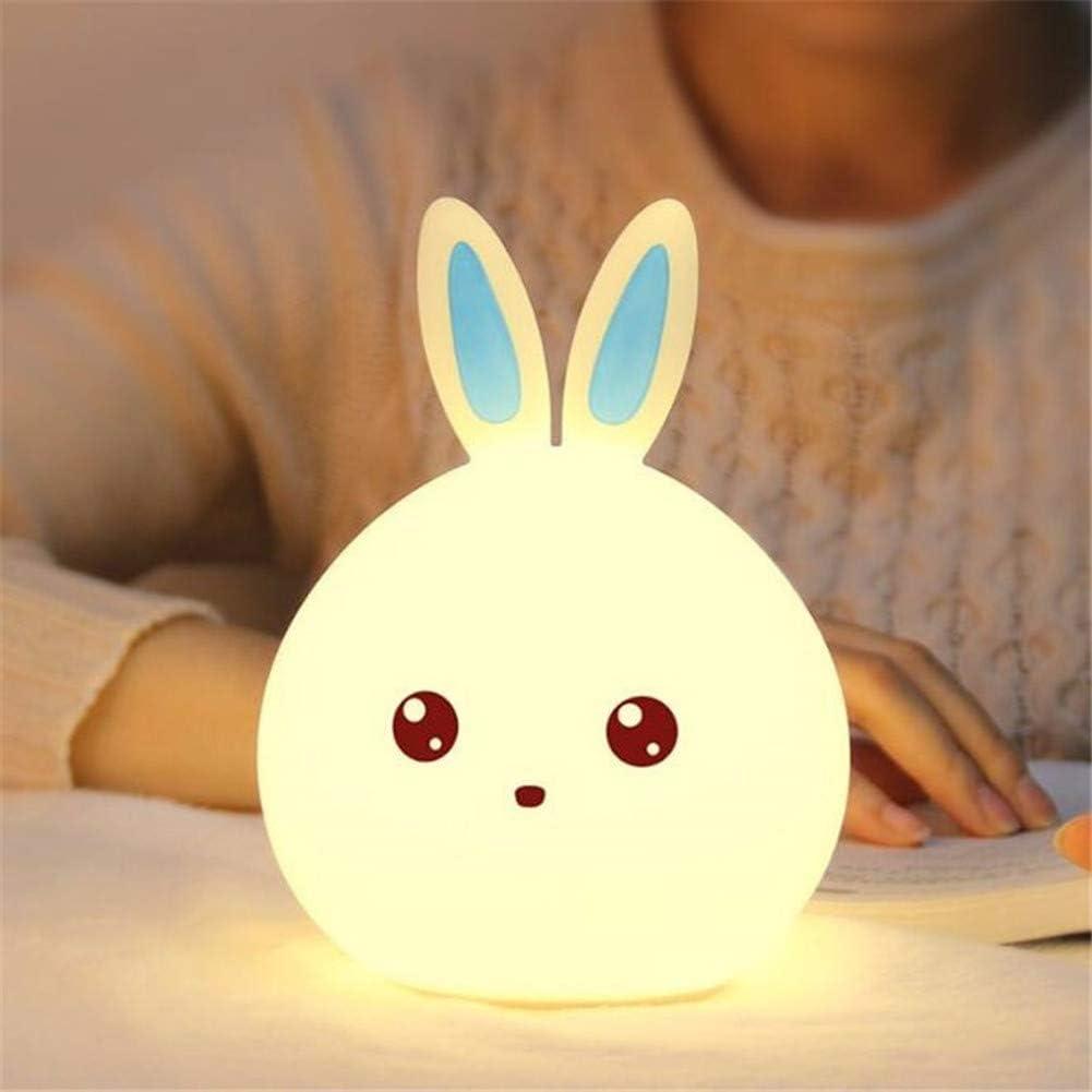 Luz Nocturna Infantil Recargable LED Mesilla de Noche Lámpara de Silicona y Portátil con Luces de Colores para Bebé Niños Niñas, Dormitorio y Guardería Decoración Azul