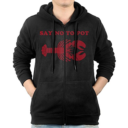 [SFG Mens Say Not To Pot Mountaineering Particular Hoodie Hoodies Leisure Style XL Black] (Lobster Pot Costume)