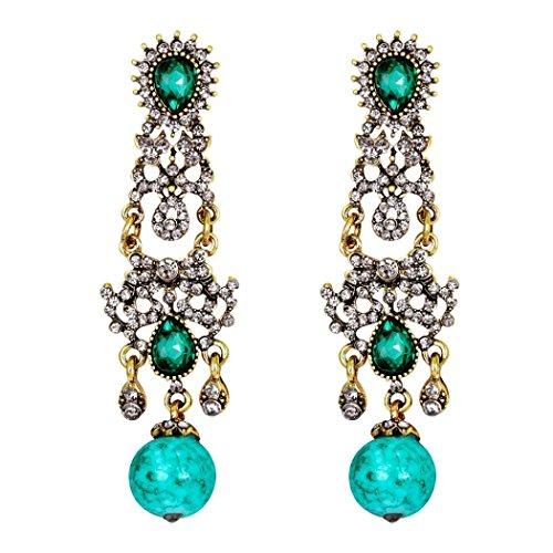 (Yeefant 1 Pair Fashion Zircon Diamond Encrusted Love Heart Jewelry Earrings for Woman,Green)