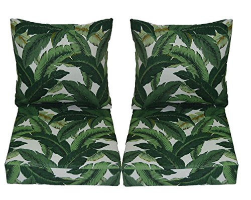 Leaf Loveseat - Tommy Bahama Swaying Palms - Aloe - Green Tropical Palm Leaf Cushions for Patio Outdoor Deep Seating Furniture Loveseat - Choice of Size (SEAT CUSHION - 20.5