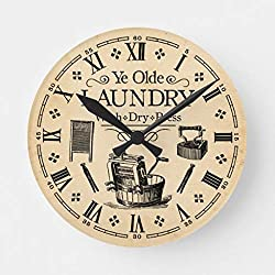 Moonluna Vintage Laundry Room Wall Clock Decorative Small Silent Non-Ticking Wooden Clock 10 inches
