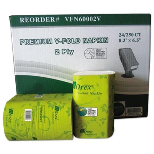 General Supply GENVFN60002V Premium V-Fold Pop-Up Dispenser Napkin, Sugarcane Pulp,6.5x8.3,250/pk, 24pk/ctn