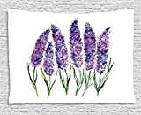 Ambesonne Watercolor Flower Decor Collection, Illustration of Lavender Flowers with Fresh Colors Mint Family Plant, Bedroom Living Room Dorm Wall Hanging Tapestry, 80 X 60 Inches, Violet Green White