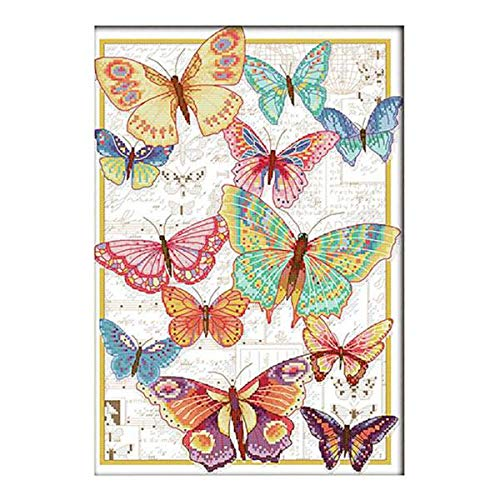 LoveinDIY Colorful Butterfly Cross Stitch Stamped Kit Quilt Pre-Printed Cross-Stitching Patterns for Beginner Kids, Embroidery Crafts Needlepoint Starter Kits - 14CT 32x43cm