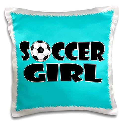 3dRose pc_181850_1 Soccer Girl black and Aqua Blue-Pillow Case, 16 by 16