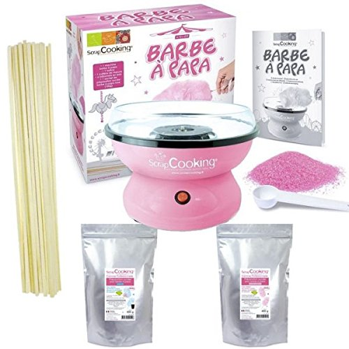 Box Zucchero filato - macchina + preparazione rosa 400 g e blu 400 g + 100 bastoncini Youdoit