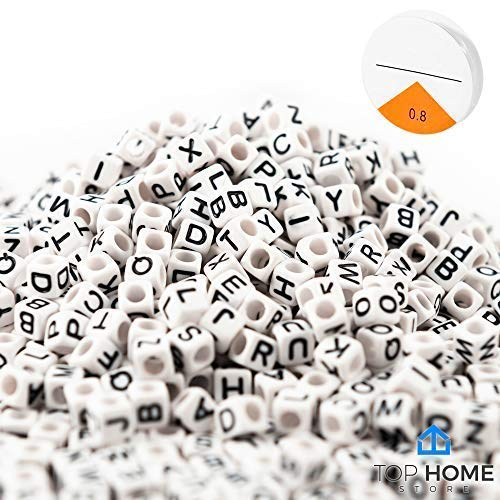 """Beads Cube Mini (Top Home Store 600 Pieces White Letter Beads Acrylic """"A – Z"""" Alphabets for DIY Jewelry Making, Bracelets, Kids, Necklaces & Key Chains with Elastic Cord (6mm Cube))"""