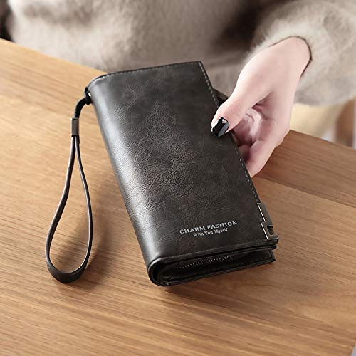 Black YOIOY Envelope Clutch Bag Women's Hand take Wallet Female Long Japanese and Korean Version of The Zipper MultiFunction Retro LargeCapacity Wallet (color   Black) (color   Pink)