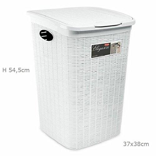 Portabiancheria effetto cesto vimini per bagno 50 LT secchio per biancheria sporca bagno Elegance della Stefanplast colore bianco