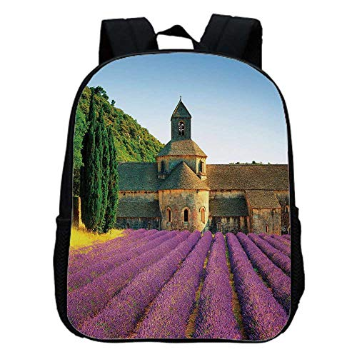 Lavender Fashion Kindergarten Shoulder Bag,Abbey of Senanque in France Architecture Countryside Blooming Rows Scenic For -