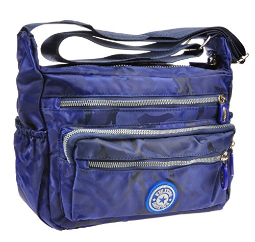 Crossbody Handbag for Women Adjustable Canvas Casual Waterproof Shoulder Travel Bag Deep Blue Camouflage (Handbag Inspired Canvas Designer)