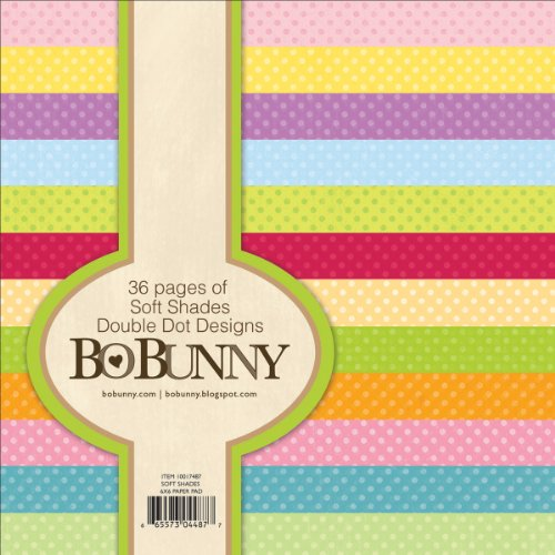 Bo Bunny DD6X6-7487 Double Dot Paper Pad, 6 by 6-Inch, Soft Shades, 36-Pack Bo Bunny Double Dot