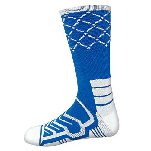 Basketball Net Socks - Anax Advantage: Cooldry Light Compression Crew Basketball Socks by Crown Sporting Goods (Blue & White, Large)