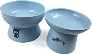 FOREYY Raised Cat Food and Water Bowl Set, Elevated Ceramic Cat Feeder Bowls with Anti Slip Band, Porcelain Pet Dish with Stand, Stress Free, Backflow Prevention, Dishwasher and Microwave Safe (Blue)