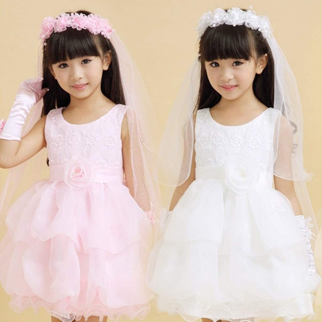 Fafalloagrron Children Girls Little Princess Hairband Double Layers Tulle Bridal Veils Flowers Garland Ruffles Floral Lace Wedding Party Wreath Headband Beaded 2 Colors