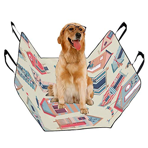 - JTMOVING Fashion Oxford Pet Car Seat Beach House Hand-Painted Ideas Waterproof Nonslip Canine Pet Dog Bed Hammock Convertible for Cars Trucks SUV