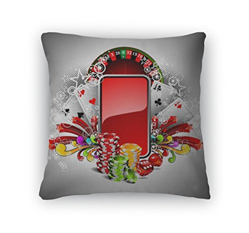 Gear New Throw Pillow Accent Decor, Gambling Illustration With Casino Elements, 20