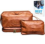 Leather Toiletry Bag for Men - Hanging TSA Approved Large Travel Kit for Toiletries & Clear Bottles - Waterproof Mens  Travel Toiletry Bag + BONUS Leather Small Bag for Accessories - Great as GlFT