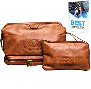 Leather Toiletry Bag for Men - Hanging TSA Approved Large Travel Kit for Toiletries & Clear Bottles – Waterproof Mens Travel Toiletry Bag + BONUS Leather Small Bag for Accessories – Great as GlFT