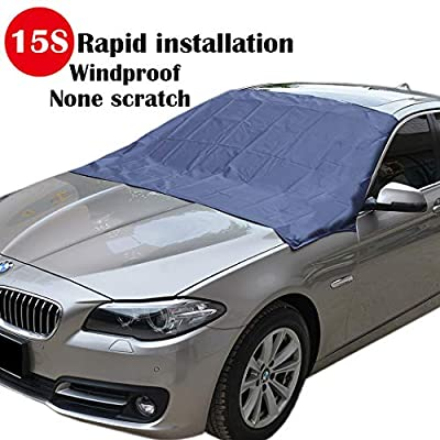 """Magnetic Edges Windshield Snow Cover - Frost Windshield Cover - Snow, Ice, Frost Guard No More Scraping - Door Flaps Windproof Fits Most Car, SUV, Truck, Van with 70""""x 54"""""""