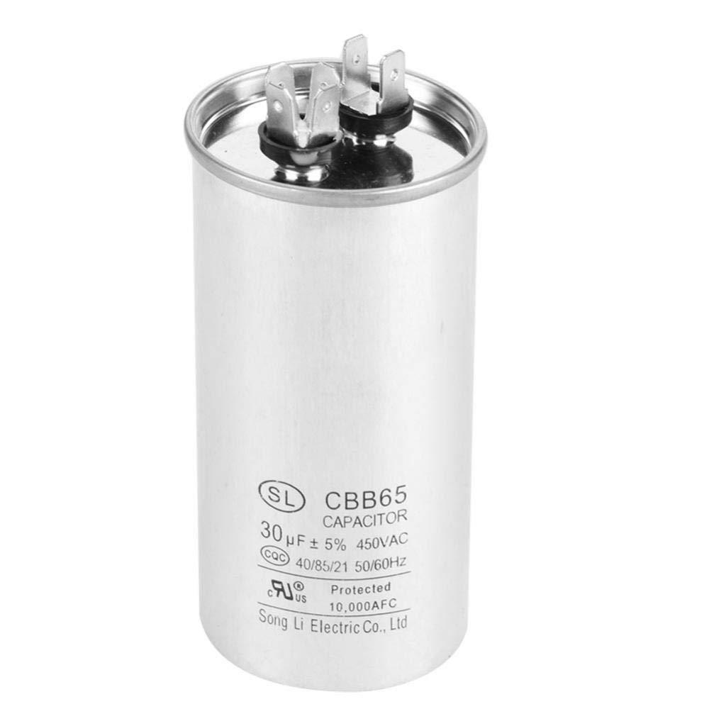 Condensateur CBB65A-1,Walfront Condensateur Moteur Conducteur Cylindrique AC 450V 30uF pour Climatiseurs,Compresseurs et Moteurs