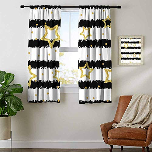 Mozenou Star, Curtains Darkening, Golden Stars and Dots with Digital Effect on Striped Pattern Celebration Theme, Curtains for Doors with Windows, W54 x L39 Inch Black White Gold (Striped Dupioni Drapes Silk)