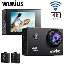 WiMiUS 4K WIFI Deportes cámara de acción 16MP HD 1080P 60FPS 2.0inch impermeable cámara de vídeo videocámara coche Casco con 2pcs Baterías