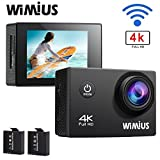 WiMiUS Sports Action Camera 4K WiFi Ultra HD 1080P 16MP Dual Screen (2.0 inch+0.66 inch ) Waterproof Video Camera Camcorder Include 2pcs Batteries With Mounting Accessories Kits (Q4) (Black) Action Cameras WiMiUS®