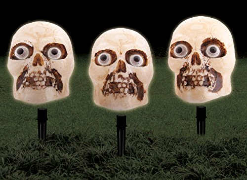 Halloween Party Light-Up Motion Sensor Skull Prop Indoor Outdoor Decorations with Yard Stakes (Pack of 3)