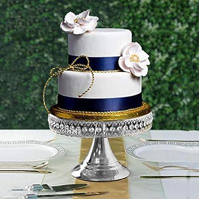 BalsaCircle 8-Inch Tall Crystal Beaded Round Cake Stand with Mirror Top - Birthday Party Wedding Dessert Pedestal Centerpiece Riser