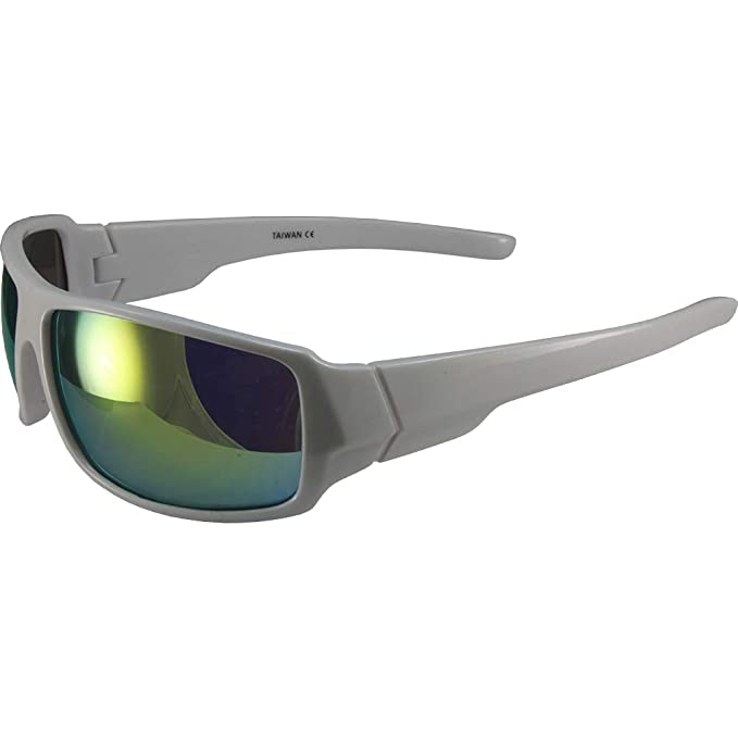 0c3e53cd8bd Image Unavailable. Image not available for. Color  Global Vision Eyewear  Swag Underground Sunglasses White Wrap Around Frames Yellow Mirror Lenses