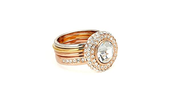 Slyq Jewelry ZYR046 Two Rounds Rose Gold Color Ring Jewelry engagement rings