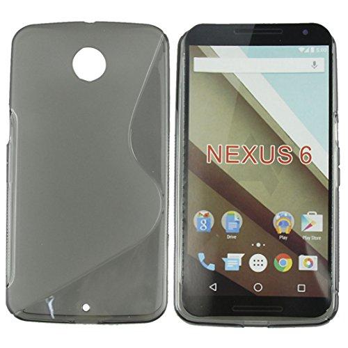 Binmer(TM)Google Nexus 6 New S Wave Soft TPU Gel Case Cover Skin Cell Phone Case Fashion (Gray)