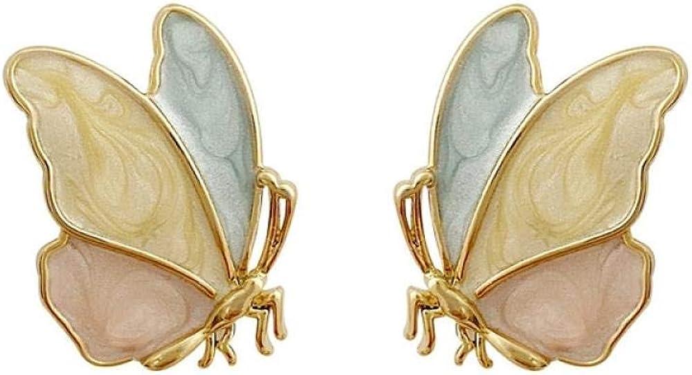 AAAA Pendientes mujer 925 aguja de plata pendientes de mariposa con goteo simple mujer dulce pequeño lindo lindo temperamento pendientes de color de personalidad