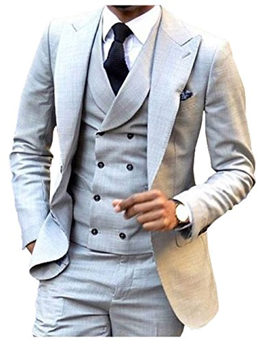 Breasted Tuxedo Peak Jacket Double (Fitty Lell Men's Mens 3 Pieces Double Breasted Vest Set Groom Tuxedos Peak Lapel Men Suits Wedding Suits(34 Regular,Light Grey))