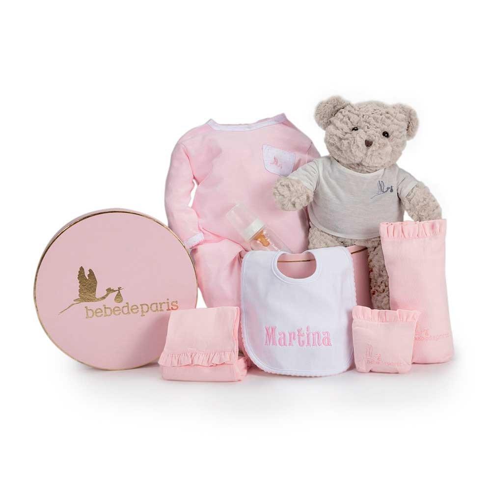 Canastilla regalo bebé Mi Babero Bordado- BebeDeParis- Rosa ...