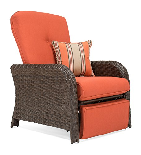 La-Z-Boy Outdoor Sawyer Resin Wicker Patio Furniture Recliner (Grenadine Orange) with All Weather Sunbrella Cushions