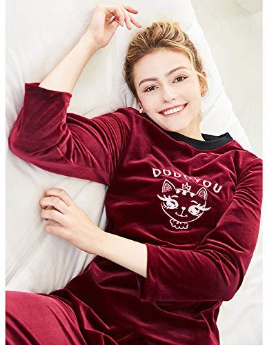 Donna Completo Service Due Inverno Pigiama Pezzi Da Vino Maniche Autunno Home Rosso E Lunghe A Sleepwear XIHwCx