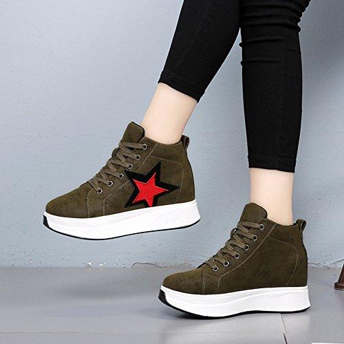 Btrada Moda Donna Hi-top Fondo Spesso Sneaker Wedge Nascosta Lace-up A Piedi Scarpe Sportive Casual Verde