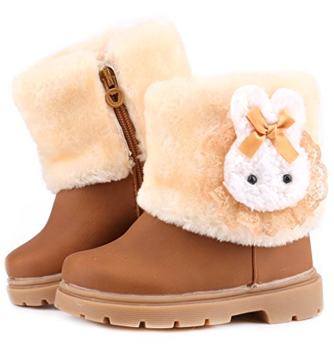 Winter Rabbit (Femizee Baby Girls Infant Toddler Winter Fur Shoes Rabbit Snow Boots Booties,Brown,1013 CN22)