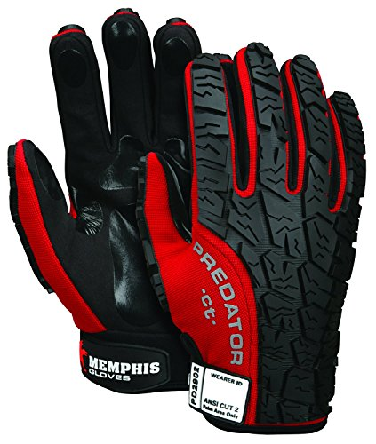 MCR Safety PD2902M Predator Synthetic Leather Cut Resistant Palm, Flexable Spandex Fabric, Tire Tread Back Gloves, Red, Medium, 1 Pair